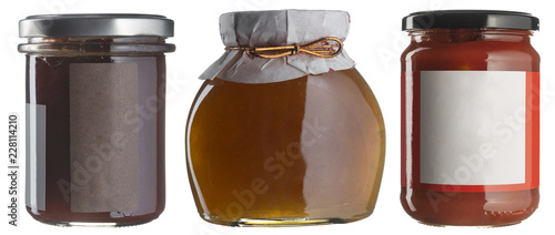 Jam jar set whith blank labels isolated on white.