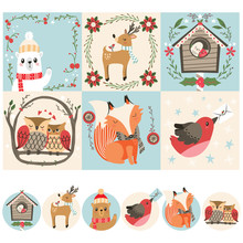 Set Collection Of Winter Christmas Cards And Avatars