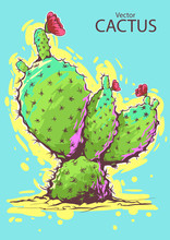 Vector Cactus Illustration Sketch. Creative  Modern Neon Style, Ink Dots And Lines. Flowers Red. Hand Draw. Painting. Colorful Fresh Summer Colors.