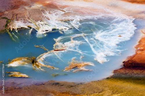 Abstract textures of Porcelain Basin in Yellowstone national park, USA.