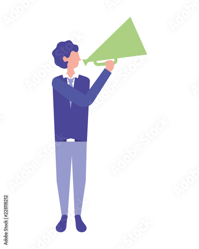 man holding megaphone director movie film Wallpaper Mural