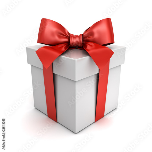 Gift box or present box with red ribbon bow isolated on white background with shadow 3D rendering © masterzphotofo