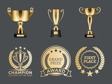 Champion Prizes Collection Vector Illustration