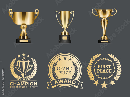 Photo Champion Prizes Collection Vector Illustration
