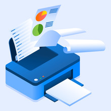 Office Printer Icon. Isometric Of Office Printer Vector Icon For Web Design Isolated