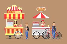Popcorn And Hot-dog Street Cart With Vendors Set