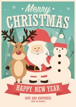 Merry Christmas Card With Santa Claus, Reindeer And Snowman On Winter Background