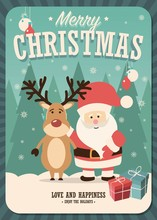 Merry Christmas Card With Santa Claus And Reindeer And Gift Boxes On Winter Background