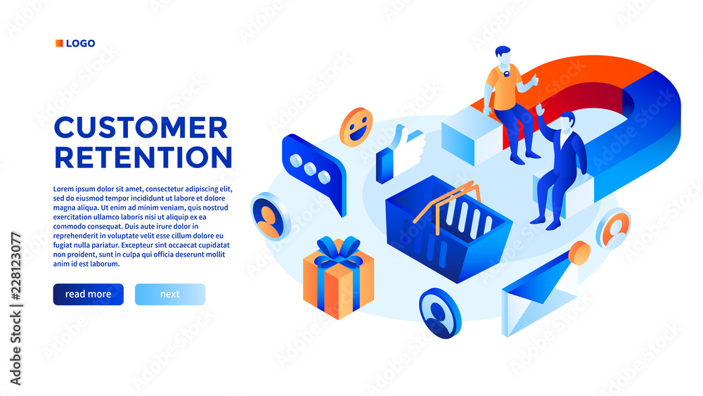 Fototapeta Customer attraction concept background. Isometric illustration of customer attraction vector concept background for web design