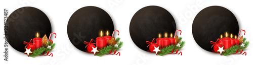 Obraz Advent Button Set - Kreidetafel mit Kerzen und Weihnachtsschmuck  - fototapety do salonu