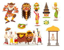 Bali Traditional Cultural Concepts Vector Illustration Set. Balinese Traditional New Year, Ethnic Mask And Dance. Ubud Indonesian Ceremony And Temple Drawn Art Sign. Isolated On White Background