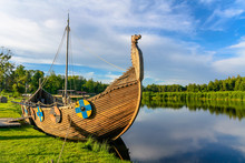 The Viking Boat On The Lake. S...