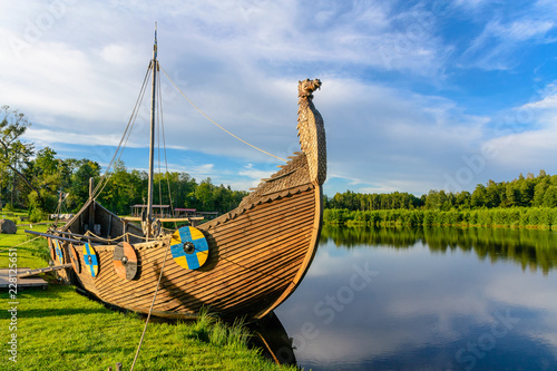 Tuinposter Schip The viking boat on the lake. Sula, Belarus