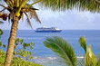 Cruise ship at anchor in the bay off the western coast of Niue.