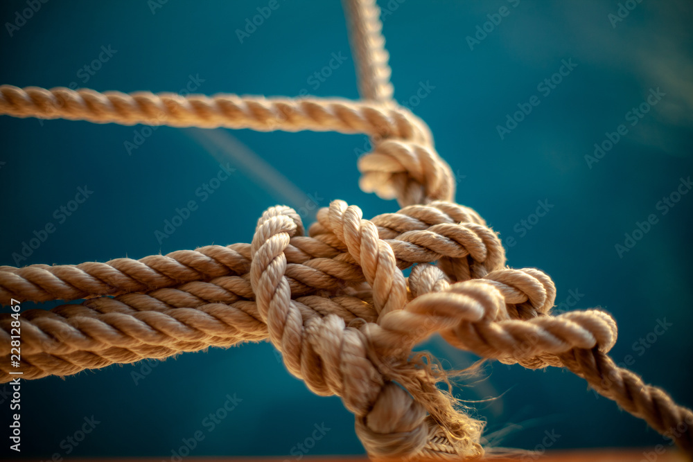 Fototapeta rope with knot on wooden background