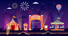 Night Amusement Park Vector Il...
