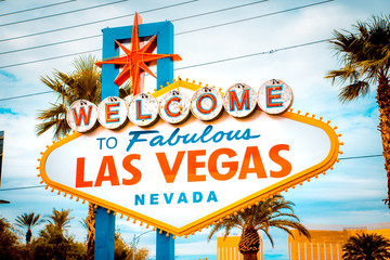 Fototapeta Welcome to Fabulous Las Vegas sign, Las Vegas Strip, Nevada, USA