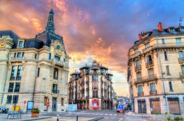 Fototapeta Post Office of Dijon at sunset. France