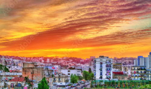 Dramatic sunset above Algiers, the capital of Algeria