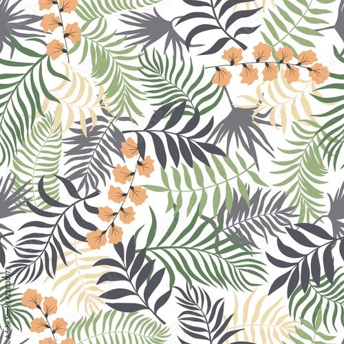 tropikalny-tlo-z-palmowymi-liscmi-kwiatowy-wzor-ilustracja-wektorowa-lato-plaski-dzungli-wydruku