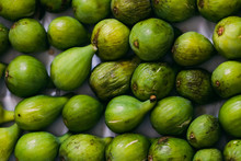 Top Shot Of Arranged Green Figs