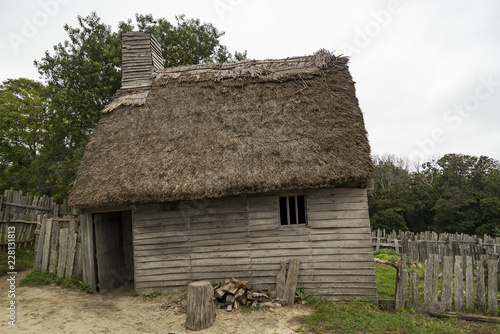 Old buildings in Plimoth plantation at Plymouth, MA Wallpaper Mural