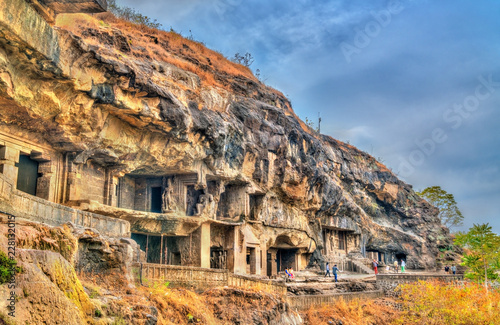 Deurstickers Asia land View of Buddhist monuments at Ellora Caves. UNESCO world heritage site in Maharashtra, India