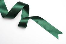 Green Ribbon Border Isolated On White