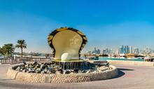 Oyster And Pearl Fountain On Corniche Seaside Promenade In Doha, Qatar
