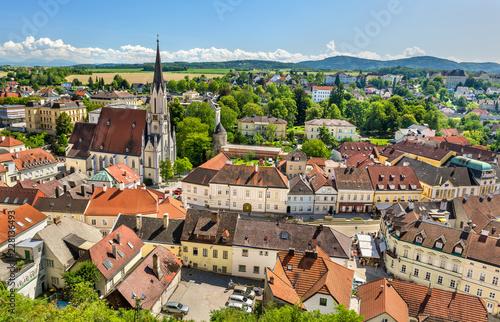 Spoed Foto op Canvas Centraal Europa View of Melk town from the abbey. Austria