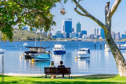 Matilda Bay and the Swan River at Crawley, Perth, Western Australia, Australia Canvas Print