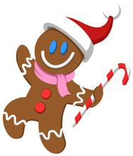 Gingerbread Man With Santa Hat