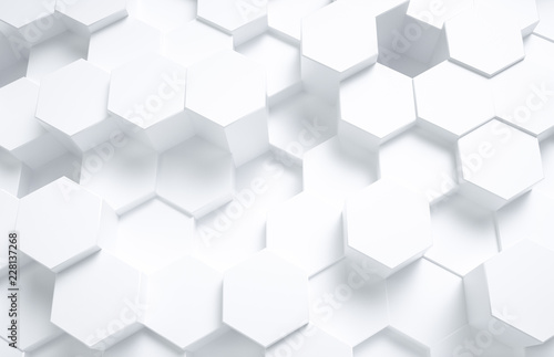 3d rendering, hexagon with white background - 228137268
