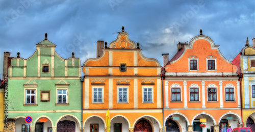 Spoed Foto op Canvas Centraal Europa Traditional houses on the main square of Telc, Czech Republic