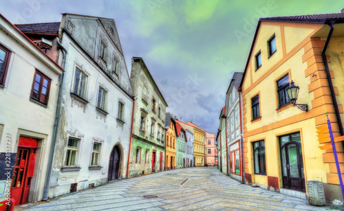 Spoed Foto op Canvas Centraal Europa Houses in the old town of Jindrichuv Hradec city, Czech Republic