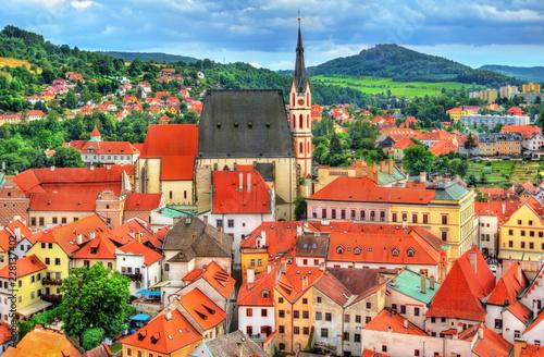 Spoed Foto op Canvas Centraal Europa View of Cesky Krumlov town, a UNESCO heritage site in Czech Republic