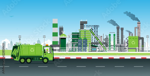 Valokuva  Garbage Truck recycles waste into electric power in factories.