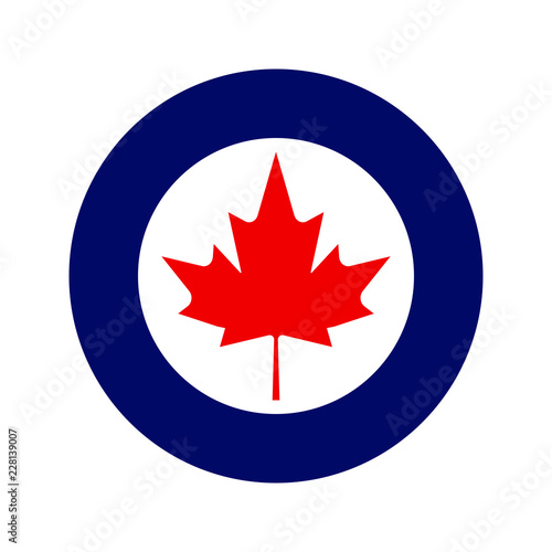 Fototapeta Royal Canadian Air Force or RCAF military roundel with large maple leaf in center