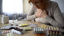 Old Lady Taken Too Much Pills, Feeling Unwell, Heart Problem, Self-medication