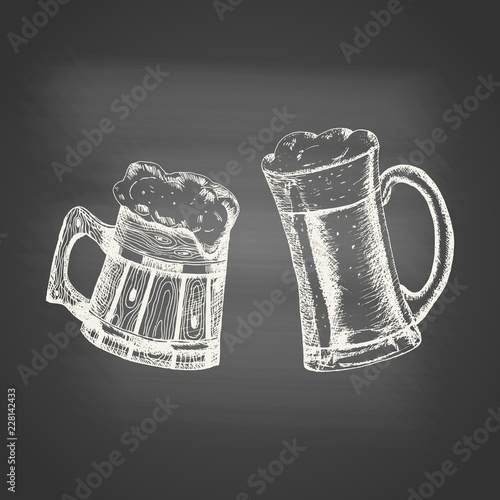 Fototapeta Glass and wooden mugs with beer and beer foam overflowing over the edge on chalkboard. Hand drawn sketch in vintage engraving style. Light Alcohol Drink. Vector illustration for Oktoberfest. obraz