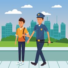 City Police Officer On Duty Cartoon