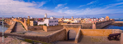 Panorama Portuguese fortress of El Jadida city in Casablanca-Settat, Morocco.