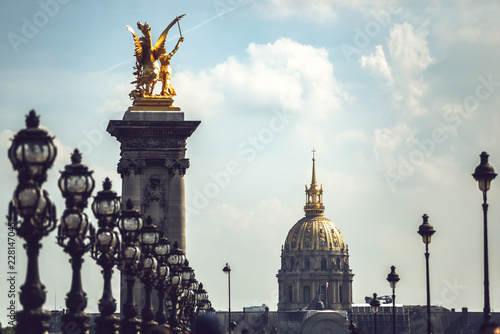 Alexandre III Bridge and Hotel Des Invalides in city, France - 228147045