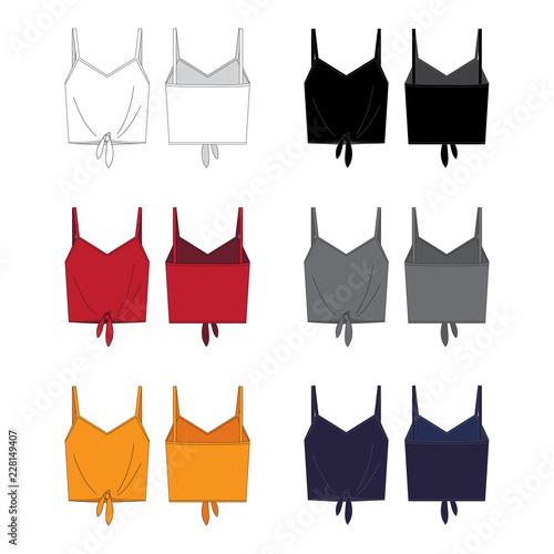 Fototapeta Vector template for Women's tie front tops
