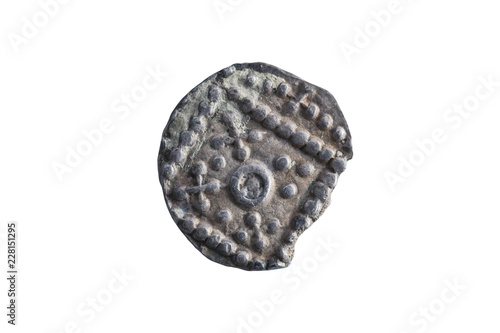 Photo Anglo Saxon silver Sceat coin reverse side of the early 8th century cut out and