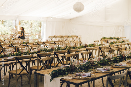 Alternative vintage and rustic decoration table for a wedding
