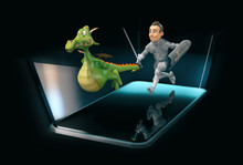 Knight And Dragon - 3D Illustr...