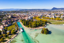 Aerial View Of Annecy Lake Wat...