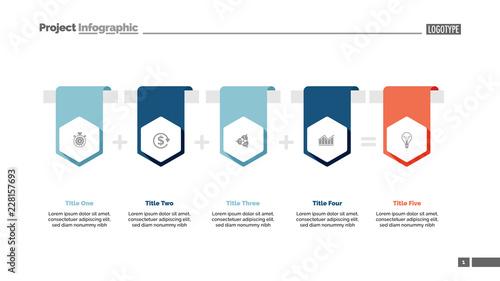 Four items sum process chart slide template  Business data