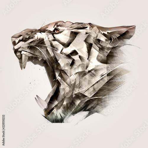 Vászonkép  painted portrait of animal tiger muzzle side